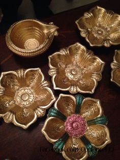 Beautiful diya's / indian candle holders painted in gold. £1.50 each OpulenceHQ@outlook.com