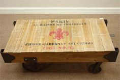 Rustic pine and metal industrial factory cart coffee table painted 'Paris La Maison Du Chiarello'