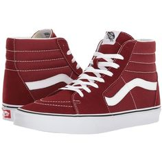 Vans SK8-Hitm (Madder Brown/True White) Skate Shoes ($65) ❤ liked on Polyvore featuring shoes, sneakers, vans, white leather sneakers, brown leather sneakers, white hi top sneakers, white sneakers and leather high top sneakers