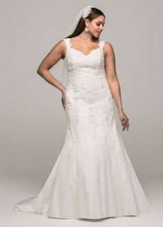 Delicate and timeless, this feminine lace trumpet gown is truly breathtaking! Tank bodice features all over stunning lace applique detail. Tulle trumpet skirt adds jus tthe right amount of flare. Vintage Inspired Wedding Dresses, Wedding Dresses Plus Size, Plus Size Wedding, Bridal Dresses, Wedding Gowns, Wedding Gown Preservation, Trumpet Gown, Trumpet Skirt, Wedding Dress Accessories