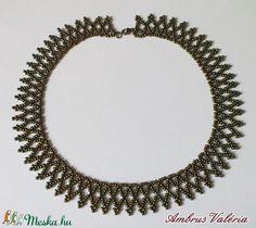 Iris bronz fűzött gyöngy nyaklánc (AmbrusValeria) - Meska.hu