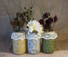 French country chic mason jars with lace  by PrimroseCouture,  Could be a DIY.