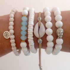 beachcomber white shell bracelet stack beach bohemian jewelry