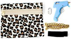 Easy DIY fashion hand-bag with some trim & a hot glue gun!  Great idea!