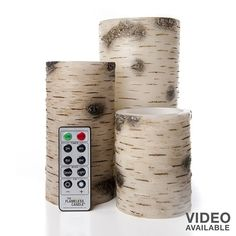 The Amazing Flameless Candle 3-piece Birch LED Pillar Candle Set