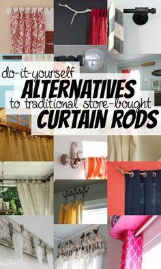 Alternative DIY Curtain Rods Via Remodelaholic