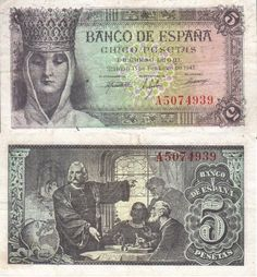 Billete de 5 pesetas 1943