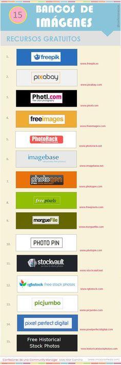 """Hola: Compartimos una infografía sobre """"Bancos de Imágenes - 15 Sitios de Descarga Gratuita"""". Un gran saludo. Fuente: chicsocialmedia Enlaces de interés: 500+ Fotografías Gratuitas en..."""