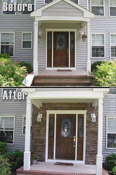 Beautiful Exterior House Colors Design: Exterior Home Design Photos Exterior Remodel, Interior Exterior, Exterior Design, Stone Exterior, Diy Exterior, Exterior Doors, Home Renovation, Home Remodeling, Exterior Siding Options