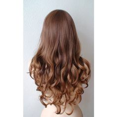 Auburn brown Honey blonde Ombre wig. Long curly hair Long side bangs... ($130) ❤ liked on Polyvore featuring beauty products, haircare, hair styling tools, hair, hair styles and curly hair care