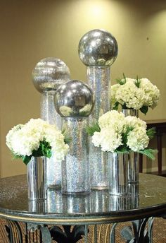 #Floral #Decoration - #Silver Ball Christmas Flowers  themarriedapp.com hearted <3