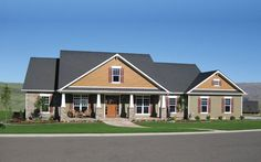 Notice the ever slight curving in the curbing and the distance from the home. (Craftsman style ranch home plan)