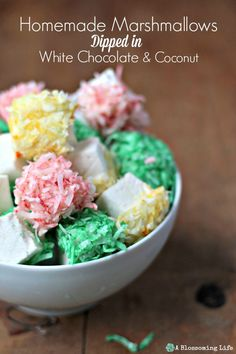 Homemade Marshmallows Dipped in White Chocolate and Coconut