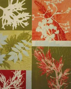 botanical monotype collage, by mary margaret briggs. - What if this was five different students work, one theme, one paper, each printing their plate in a section? Done in table groups....