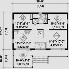 COOL house plans offers a unique variety of professionally designed home plans with floor plans by accredited home designers. Styles include country house plans, colonial, Victorian, European, and ranch. Blueprints for small to luxury home styles. 20x30 House Plans, Small House Plans, House Floor Plans, The Plan, How To Plan, Plan Chalet, Cottage Plan, Cottage Homes, Outdoor Kitchen Design
