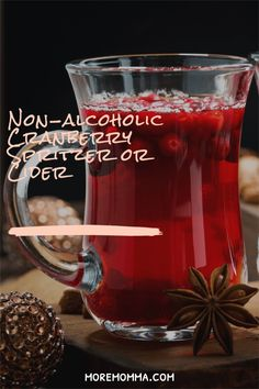 This delicious cranberry spritzer can also easily be turned into a cranbeery cider. You can serve this cold as a refreshing drink to serve with appetizers or as a cider to serve warm with your favorite dessert. Best Christmas Desserts, Christmas Breakfast, Holiday Drinks, Christmas Ideas, Cranberry Juice Cocktail, Thanksgiving Desserts Easy, Desserts For A Crowd, Non Alcoholic