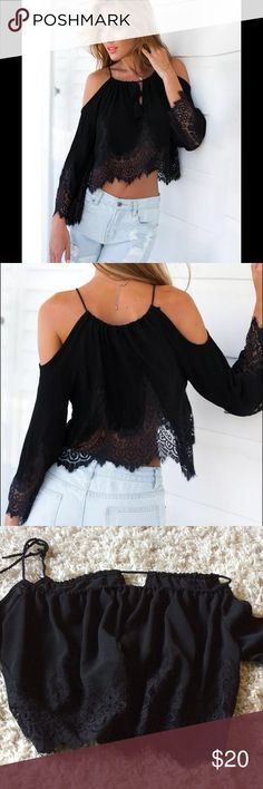 Cold shoulder crop Gorgeous chiffon and lace cold should crop top. Adjustable tie, bare shoulders and lace three quarter sleeve. Tops Crop Tops