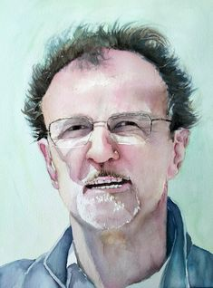 Portrait homme à la peinture aquarelle #peinture #aquarelle Easy Watercolor, Men Portrait, Face, Artist