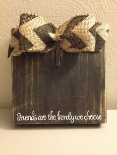 Black Distress Painted Wood Block Frame with Chevron Bow & Vinyl Quote by DefinitelyDenise, $17.00