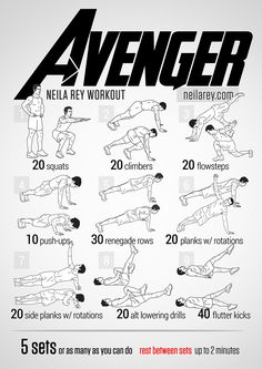Avenger Workout / works: Quads, frontal hip flexors, glutes, shoulders, triceps, core, lateral abs, lower abs.