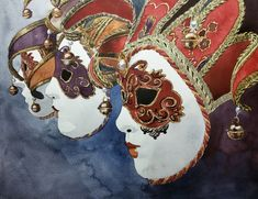 Original Watercolor Painting, Original Watercolor Artwork, Venice Masks Watercolor, Italy Watercolor, 30,5x23 cm
