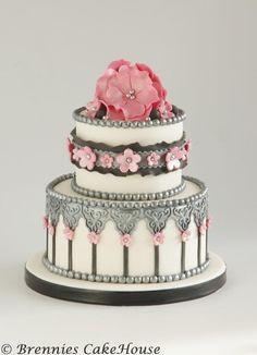 Gray and pink wedding cake