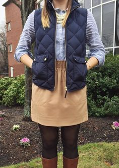 Camel elastic waist skirt + striped button up shirt + navy quilted vest