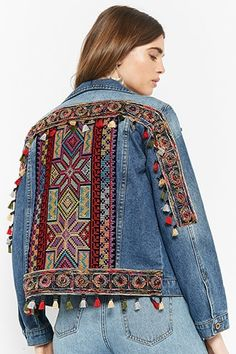 Product Name:Embroidered Tasseled Denim Jacket, Category:outerwear_coats-and-jackets, Denim And Lace, Embellished Jeans, Embroidered Jeans, Coats For Women, Jackets For Women, Women's Jackets, Denim Jackets, Boho Outfits, Vintage Outfits