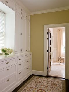 A dressing room between the master bedroom and bathroom with built-ins containing lots of storage space. Attic Storage, Built In Storage, Bedroom Storage, Storage Spaces, Tall Cabinet Storage, Storage Ideas, Attic Renovation, Attic Remodel, Bath Remodel