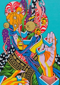 There's no stopping the runaway success of Brazilian art duo Bicicleta Sem Freio. Hippie Painting, Trippy Painting, Arte Pop, Art And Illustration, Graphic Design Illustration, Trippy Drawings, Art Drawings, Pintura Hippie, Arte Inspo