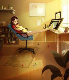 Ilustrador capta perfeitamente a felicidade de como é viver sozinho - Universo Curioso