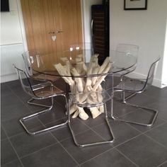 Natural Driftwood Round Dining Table Base With Glass Top To Seat - Glass dining table with driftwood base