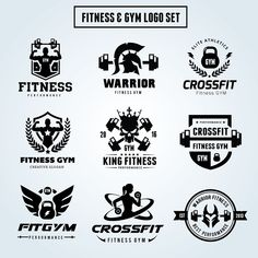 Fitness Logo Set Templates **Logo Template Features **---- 100 Scalable Vector Files- Everything is editable- Everything by Super Pig Shop Fitness Logo, Logos Gym, Gym Logo, Adobe Illustrator, Crossfit Logo, Fitness Outfits, Logo Vintage, Sports Logo, Business Brochure