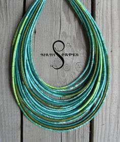 Summer Cotton yarn-wrapped necklace / tribal / hippie / bohemian / 100% cotton