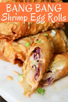 Bang Bang Shrimp Egg Rolls are filled with delicious shrimp, slaw, and the super popular Bang Bang sauce! Perfect game day snack or appetizer! With football season in full swing, making creative delicious appetizers is Lunch Snacks, Game Day Snacks, Snacks Für Party, Clean Eating Snacks, Best Shrimp Recipes, Seafood Recipes, Asian Recipes, Cooking Recipes, Chinese Shrimp Recipes