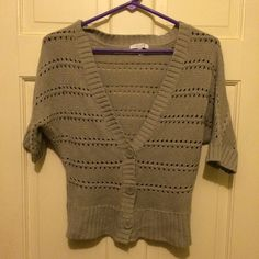 Delias gray knit sweater Knitted button up sweater. 1/2 sleeve :) Delias Sweaters