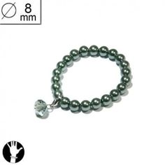 sg paris women bracelet elastic bracelet 8 mm green pearl green ab glass SG Paris. $5.83
