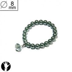 sg paris women bracelet elastic bracelet 8 mm green pearl green ab glass SG Paris. $5.83