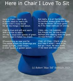 Max Tell loves inspiring kids to read and what better place to read than in a blue-hand chair. For more on Max Tell go to www.maxtell.ca.