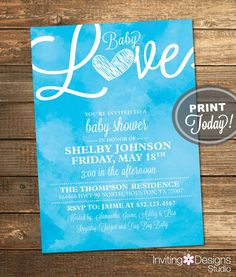 Watercolor Baby Shower Invitation Love Art by InvitingDesignStudio