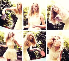 Jennifer in a photoshoot playing pingpong