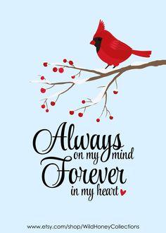 Always On My Mind Forever In My Heart, Cardinal Red Bird Printable Mom In Heaven Quotes, Dad In Heaven, My Mind Quotes, Missing Quotes, I Miss My Mom, Mom And Dad, Grieving Quotes, Missing My Son, Bird Quotes