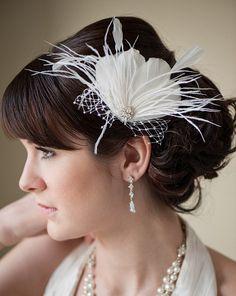 Fascinator, Bridal Fascinator, Head Piece,Feather Fascinator, Wedding Hair Accessory, Diamond White Feather Hair Clip- LAURENA. $59.00, via Etsy.