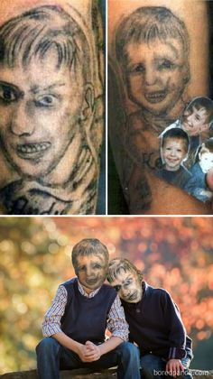 We Face Swapped Tattoos To Present How Unhealthy They Actually Are, And Angelina Jolie Is Not As Attractive As We Bear in mind - Just luck life Tatoo Fail, Funny Tattoos Fails, Get A Tattoo, Bad Portrait Tattoos, Really Bad Tattoos, Chaos Tattoo, Tattoos Gone Wrong, Face Swaps, Vida Real