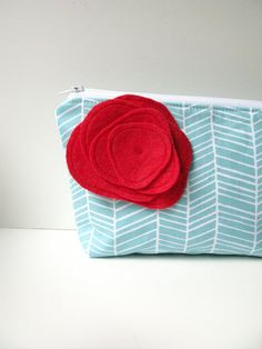 Zipper Pouch Cosmetic Bag - Aqua Chevron Stripe with Red Poppy Brooch Pin $25