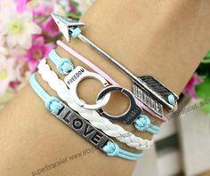 Silver arrow charm bracelet  handcuffs bangle by superbracelet, $4.99