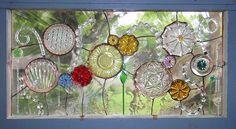 "Repurposed glass. ""A Sprite's Garden"" $595, 28 x 15"" By Alison Fox. alisonsstainedglass.com"