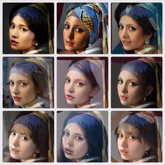 Nine girls with a pearl earring