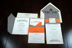 Pocketfold #wedding invitation created at Chic Ink #letterpress