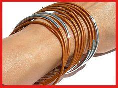 Leather Bangles Bracelets Bronze Metallic by SunnyBeachJewelry